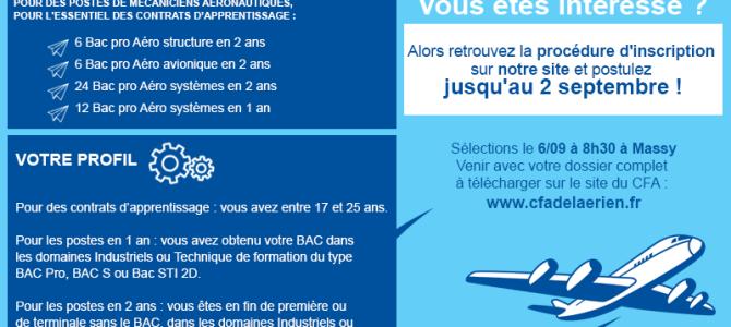 Journée de sélection d'apprentis Techniques pour AIR France le 06/09